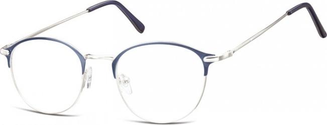 Lenonki okrągłe oprawki optyczne 933a srebrne + niebieskie
