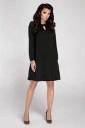 Czarna Trapezowa Wyjściowa Sukienka z Wycięciem przy Dekolcie