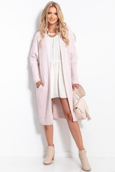 Long ribbed cardigan without clasp - purple
