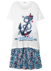 T-shirt + spódniczka z falbanami 2 części bonprix biało-ciemnoniebieski