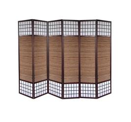 Parawan drewniany 6-skrzydłowy, bambus i papier ryżowy