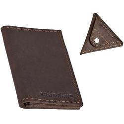 Skórzany zestaw portfel i bilonówka brodrene sw03 + cw01 ciemnobrązowy - c. brązowy
