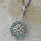 Sea koło sterowe - srebrny wisior z akwamarynem