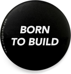 Przypinka czarna badge born to build
