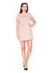 Różowa pikowana sukienka z krótkim rękawem