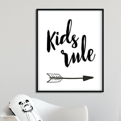 Kids rule arrows - plakat dla dzieci , wymiary - 18cm x 24cm, kolor ramki - czarny