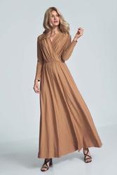 Długa rozkloszowana sukienka kopertowa - beżowa