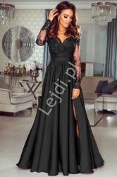 Długa czarna suknia wieczorowa z rozcięciem - luna