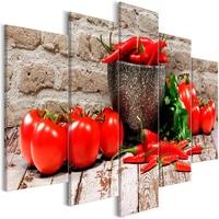 Obraz - czerwone warzywa 5-częściowy cegła szeroki