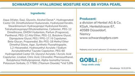 Schwarzkopf bc hyaluronic moisture bb hydra pearl, perłowy krem nawilżający 100ml
