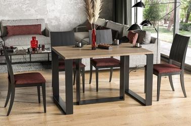 Nowoczesny rozkładany stół borys na metalowych nogach 130-290 x 80 cm dąb sonoma