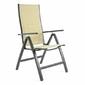 Krzesło ogrodowe z regulowanym oparciem beżowe, leżak ogrodowy składany