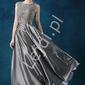 Srebrna satynowa suknia wieczorowa na wesele, dla druhny, na studniówkę - elza