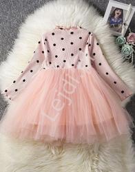 Sukienka z tiulową spódnicą jasny róż 032