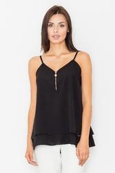 Czarna zwiewna bluzka na cienkich ramiączkach