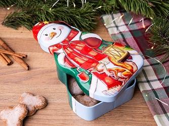 Puszka na ciasteczka i pierniki świąteczna altom design boże narodzenie bałwanek 13 x 23 x 6 cm