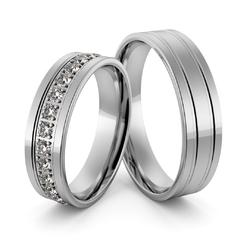 Obrączki ślubne z białego złota niklowego z brylantami - au-997