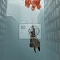 Plakat biznesmen rosnących na balon w mieście