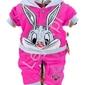 Różowy dres welurowy dla dziewczynki z królikiem bugsem