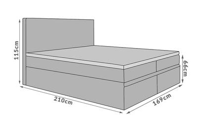 Łóżko kontynentalne scilla iii 140x200 szare z pojemnikiem