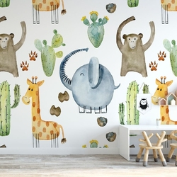 Tapeta dla dzieci - happy safari , rodzaj - próbka tapety 50x50cm
