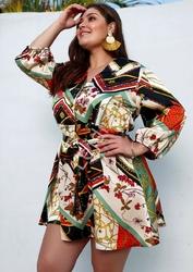 Żorżetowa wzorzysta tunika lub sukienka plus size, odcienie zieleni, łańcuchy, kwiaty 5129-og2