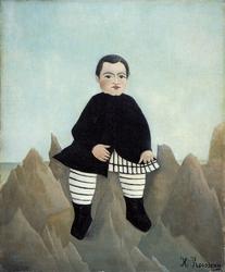 Reprodukcja boy on the rocks, henri rousseau