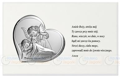 Obrazek BC6479A na białym drewienku z modlitwą 18 x 11,5 cm.
