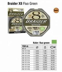 Plecionka Konger Braider x8 Fluo Green 0,12mm 150m 11,80kg