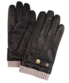 Eleganckie męskie skórzane brązowe rękawiczki profuomo z dzianinowym mankietem  9