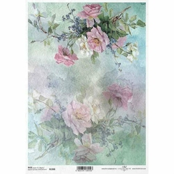 Papier ryżowy ITD A4 R1388 róże kwiaty