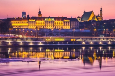 Warszawa zamek królewski bajkowy zamek - plakat premium wymiar do wyboru: 140x100 cm