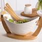 Salaterka  miska do sałatek z podstawą i łyżkami bambusowymi porcelana altom design regular 32 x 15 x16 cm