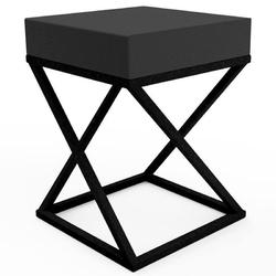 Nowoczesny puf iron x z tapicerowanym siedziskiem