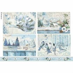 Papier ryżowy Stamperia A4 Zima Krajobraz