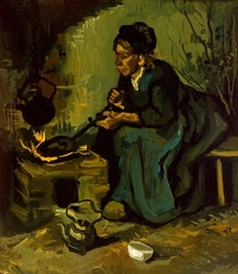 Peasant woman cooking by a fireplace, vincent van gogh - plakat wymiar do wyboru: 40x60 cm
