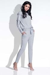Szary kobiecy zestaw bluzka i spodnie