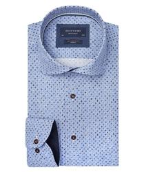 Błękitna koszula profuomo w krzyżyki slim fit 37