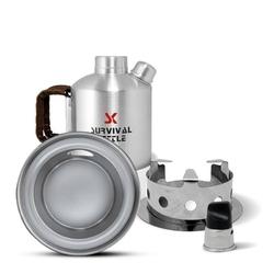 Aluminiowa kuchenka czajnik turystyczny survival kettle half srebrny - zestaw ze stalowym paleniskiem