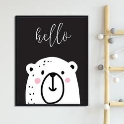 Hello bear - plakat dla dzieci , wymiary - 18cm x 24cm, kolor ramki - biały