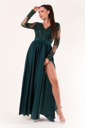 Evalola sukienka butelkowa zieleń 60008-1
