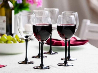 Kieliszki do wina czerwonego altom design onyx z czarną nóżką 330 ml, komplet 6 szt.