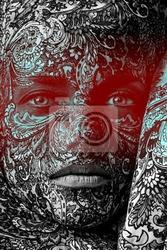 Plakat face cyrk kobieta art bliska portret