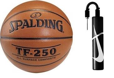 Piłka do koszykówki spalding tf-250 indooroutdoor + pompka nike essential