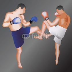 Obraz na płótnie canvas czteroczęściowy tetraptyk Ilustracja taekwondo fighters.vector.