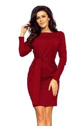 Dopasowana sukienka z wiązanym paskiem - bordowa