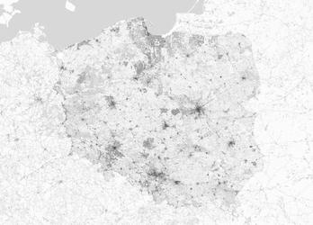 Polska - mapa czarno biała - fototapeta