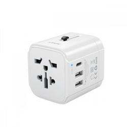 AUKEY Podróżny adapter sieciowy PA-TA01 biały uniwersalny | 2xUSB+1xUSB C | 7.8A | pasuje w 150 krajach