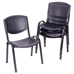 Zestaw 4 krzeseł biurowych czarnych z plastiku