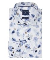 Biała koszula profuomo w liściasty wzór slim fit 38